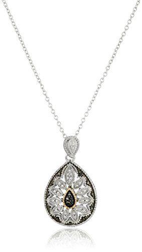 Robot Check Art Deco Pendant Necklace Black Hills Gold Jewelry Black Diamond Necklace