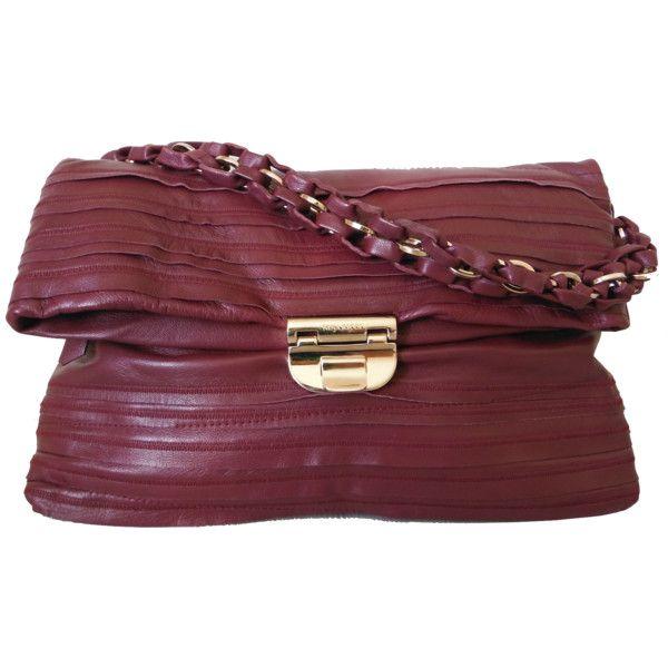 Nina Ricci Liane Patchwork Burgundy Pochette Leather Satchel Bag (970 CAD) ❤ liked on Polyvore featuring bags, handbags, burgundy, genuine leather handbags, leather satchel, satchel handbags, red leather handbag and evening handbags