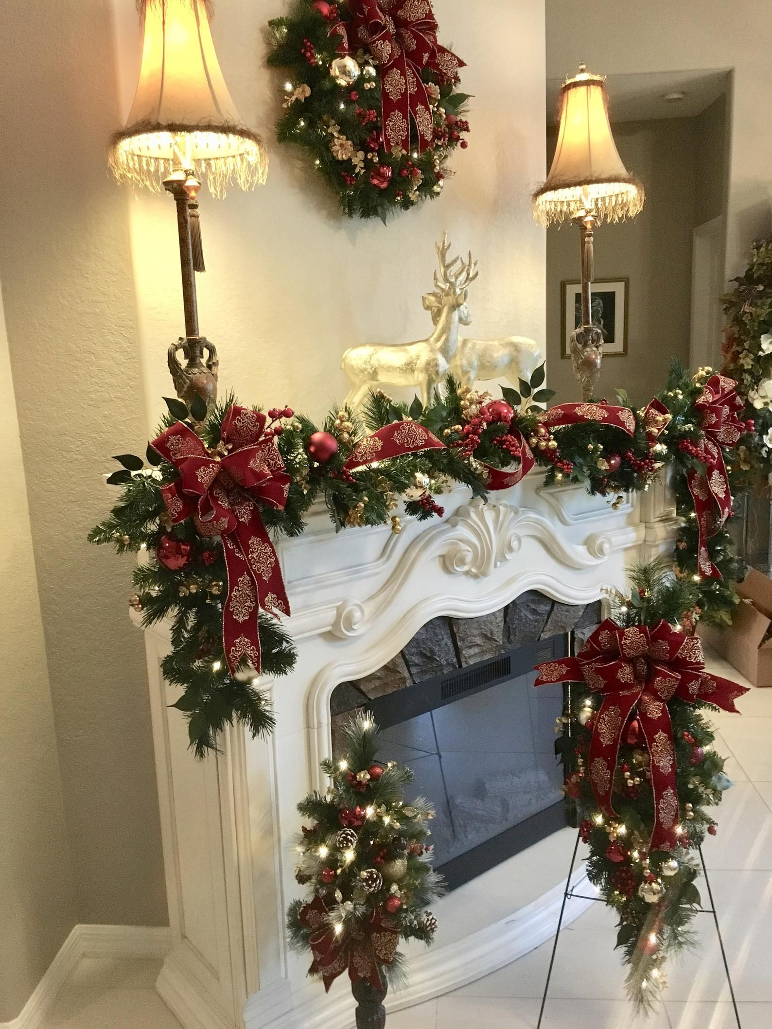 Crest Open On Christmas 2020 4 PC Set Christmas Wreath Garland Burgundy Crest Ribbons   Etsy in