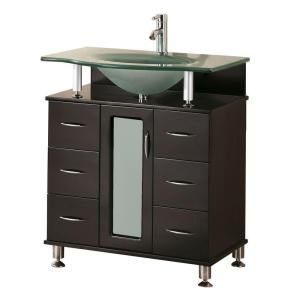 Design Element Huntington 30 In W X 22 In D Vanity In Espresso With Glass Vanity Top In Aqua Dec015a With Images Oak Bathroom Vanity 30 Inch Bathroom Vanity Single Sink Vanity