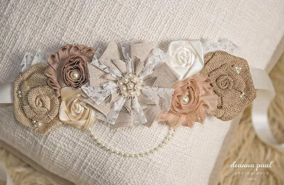 Maternity Sash Baby Boy Baby Girl Rustic Sash by PositivelyWhimsy