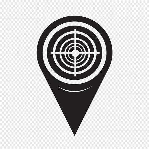Map Pointer Target Icon Free Vector Illustration Bow Vector Icon