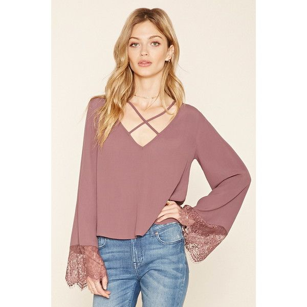 Love 21 Women's Contemporary Strappy Bell-Sleeve Blouse ($18) ❤ liked on  Polyvore. Chiffon TopsChiffon BlousesRed ...