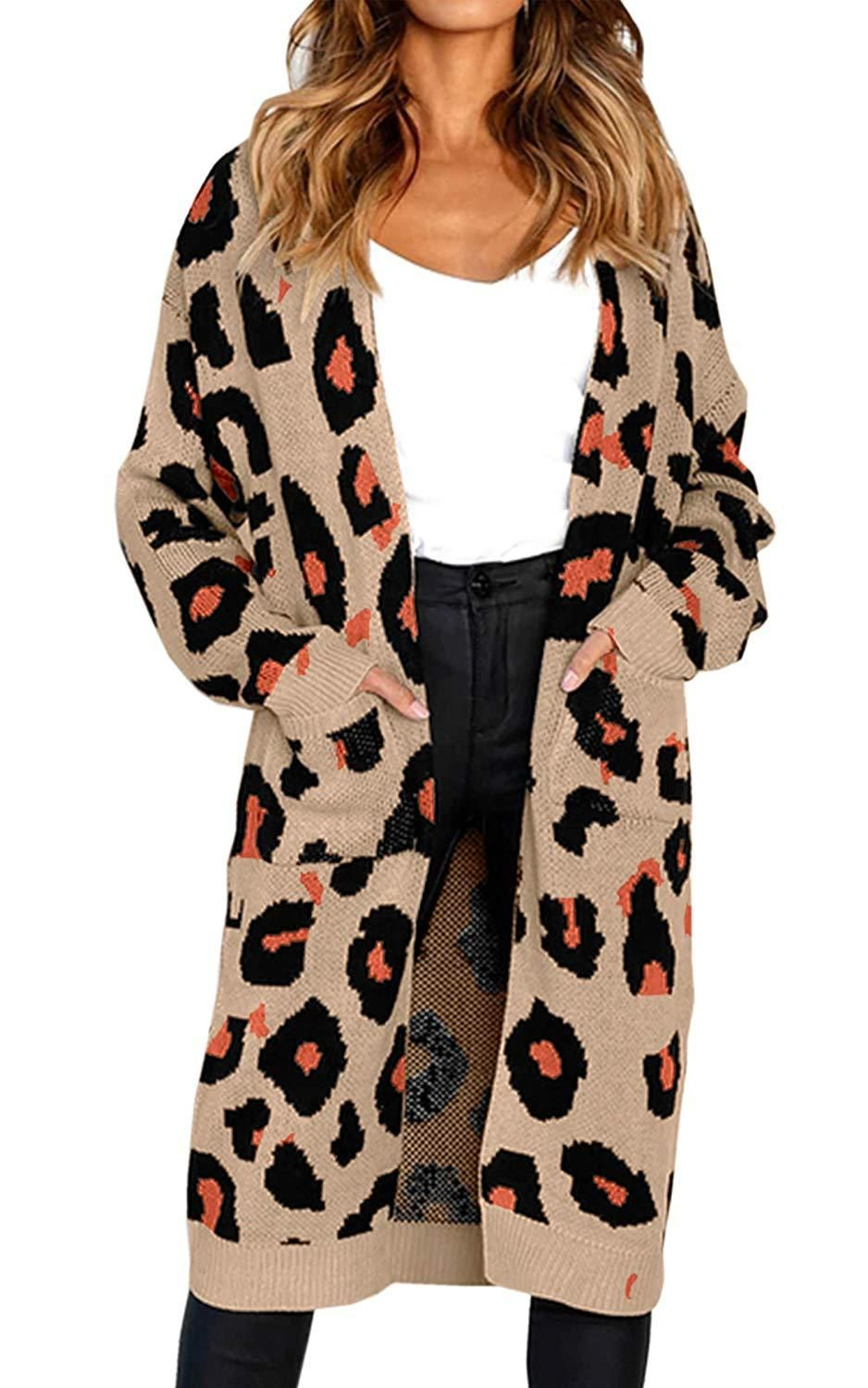 ad11801956f47c Women's Long Sleeves Leopard Print Knitting Cardigan Open Front Warm Sweater  Outwear Coats with Pocket