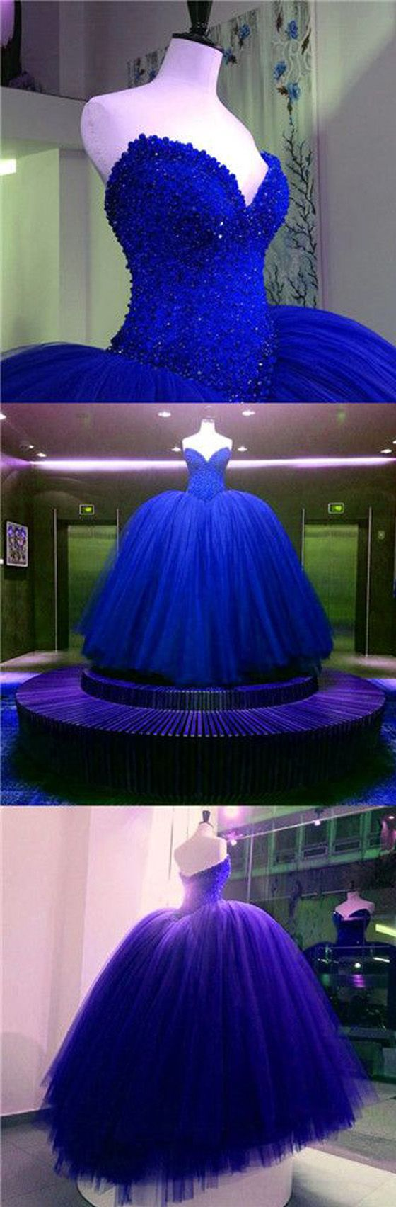 Affordable gorgeous sweetheart royal blue ball gown long evening