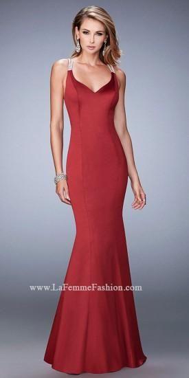 Satin Rhinestone Embellished Mermaid Prom Dress by La Femme  #dress #fashion #designer #lafemme #edressme
