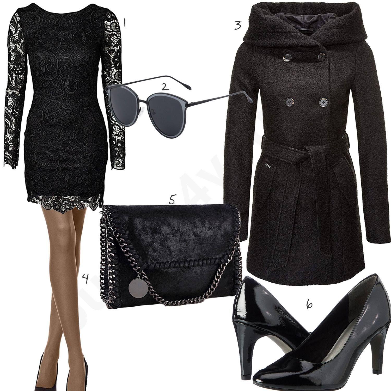 Schwarzes Damenoutfit mit sexy Cocktailkleid (w0833) #cocktailkleid ...