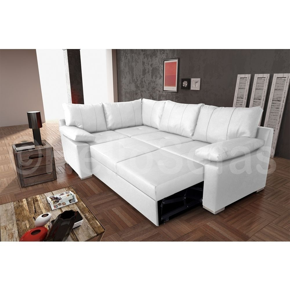 Vault White Leather Corner Sofa Bed With Pull Out Sofabed Storage