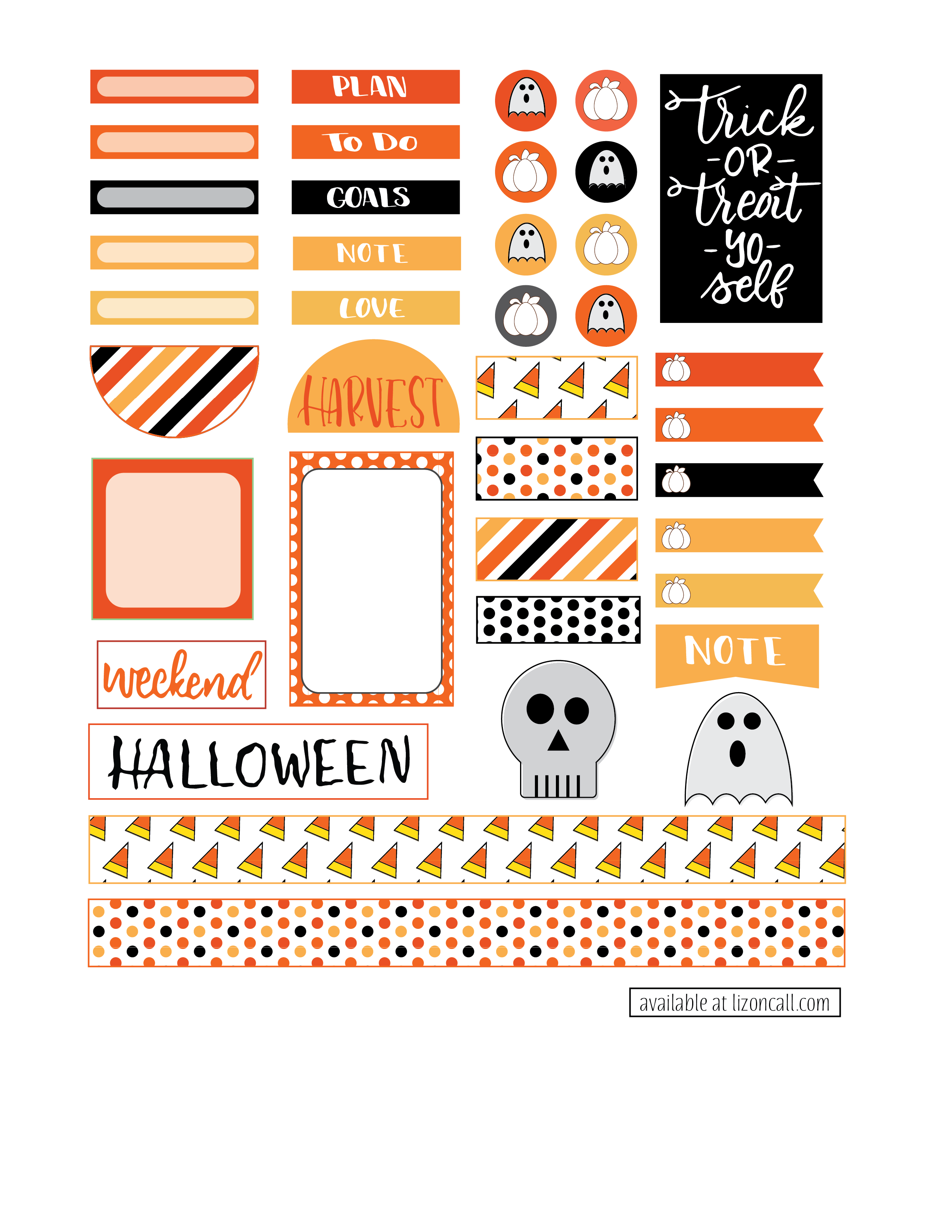 Free Happy Planner Stickers for Halloween and Fall Happy