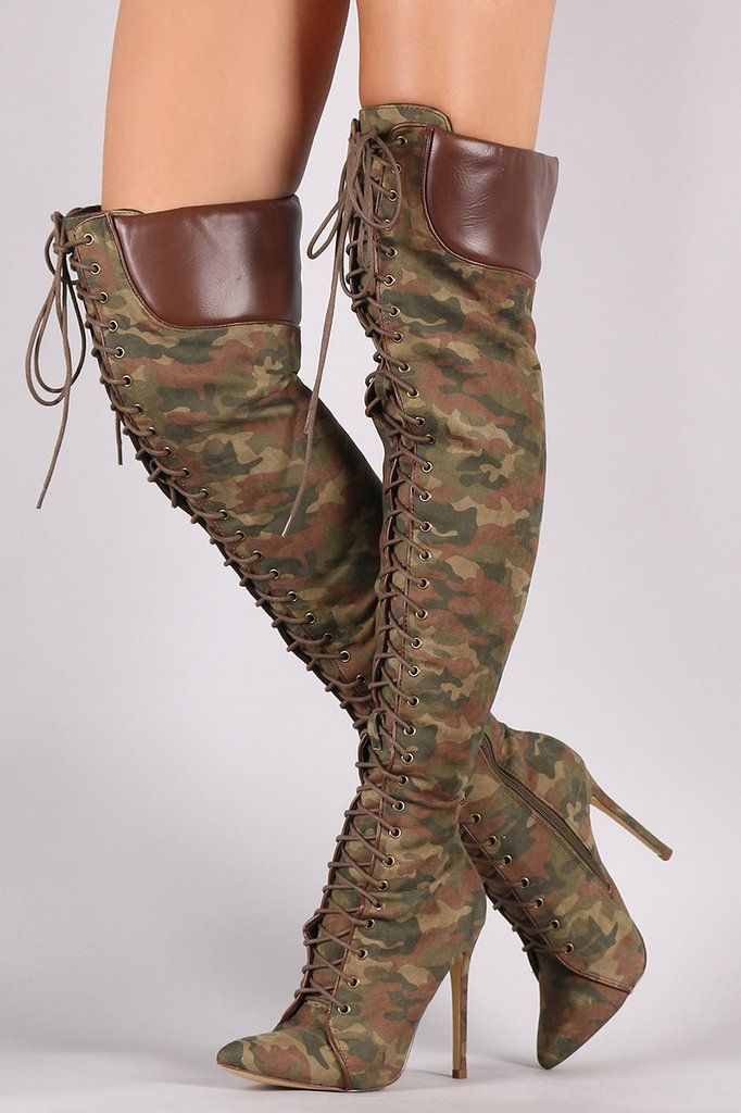 0d7d139aa5e5 Liliana Camouflage Pointy Toe Lace-Up Over-The-Knee Boots in 2019 ...