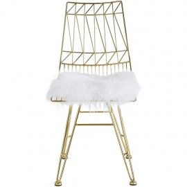 Steel Chair Accessories Chinese Yoke Back Gold Fluffy White Sheepskin Seat Of 2 Black