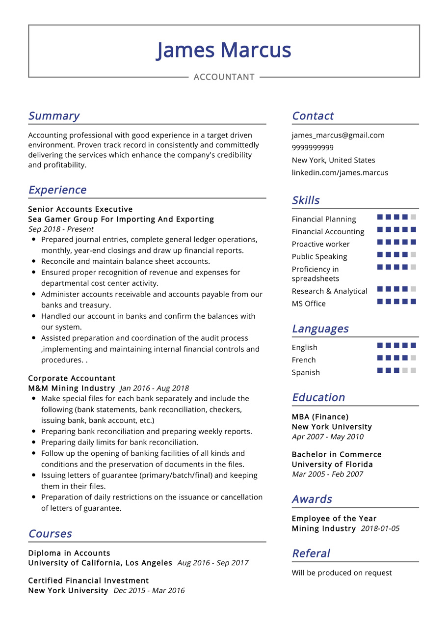 This Is The Most Recommended Professional Resume With Best Resume Format And Professional Design Sample Resume Resu Resume Examples Accountant Resume Resume