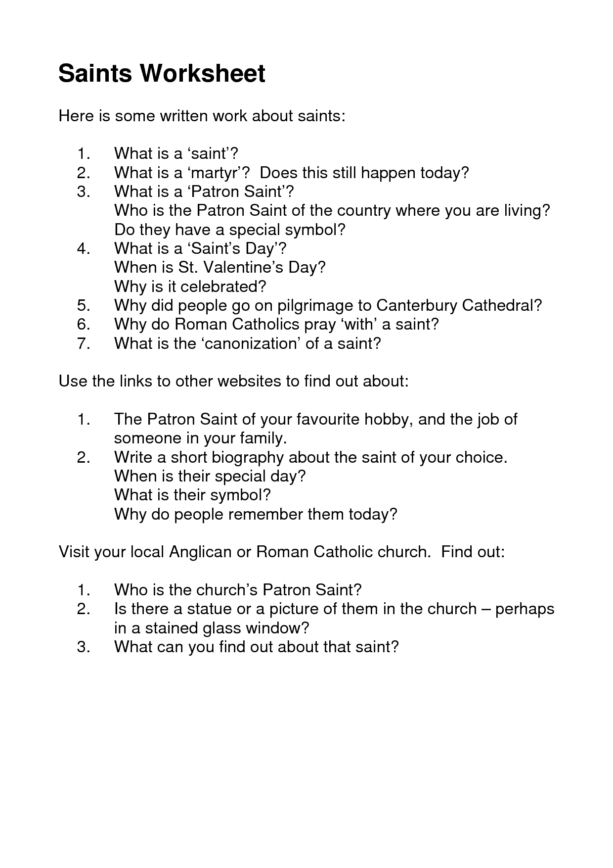 34 Awesome worksheets for all saints day images | Youth Ministry ...