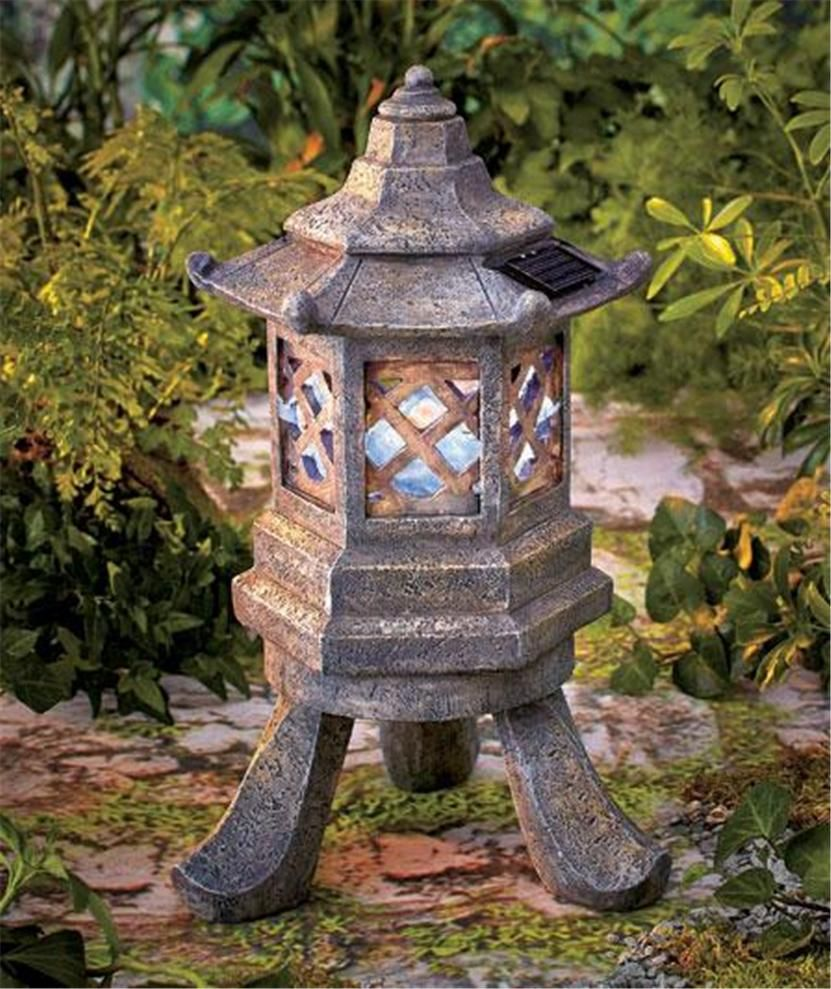 zen garden solar pagoda light weathered stone look statue accent