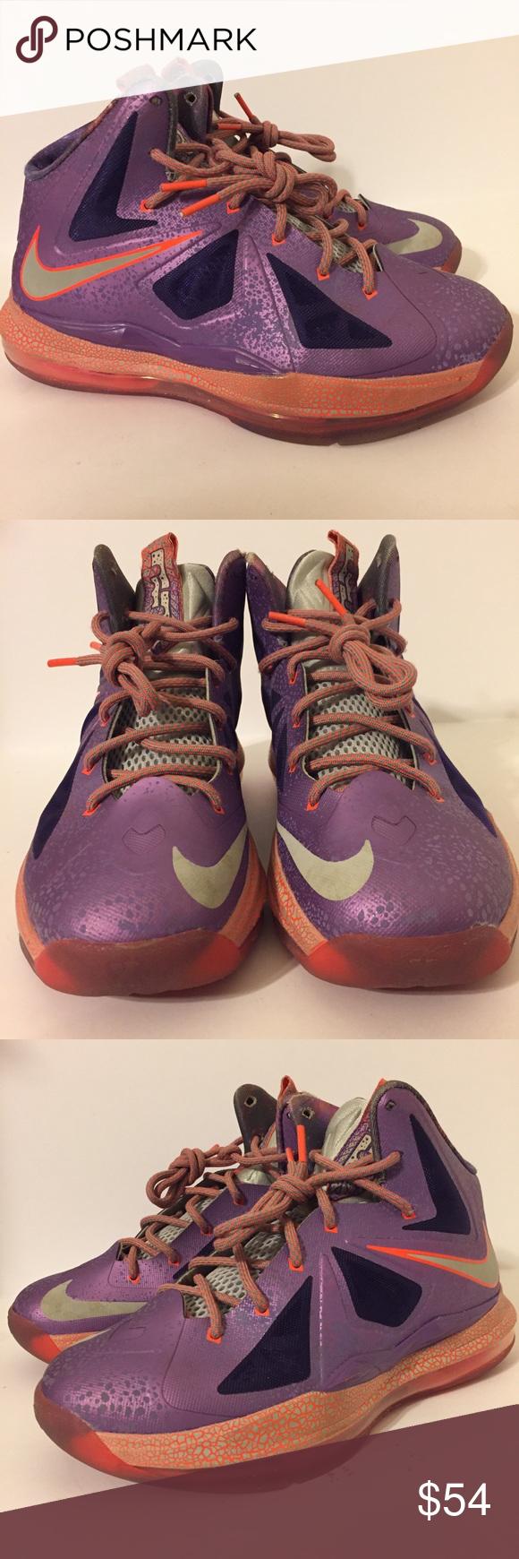 Nike Lebron X 10 purple galaxy 5Y Womens 6.5 Nike Lebron 10 X galaxy size  5Y 17cb16902