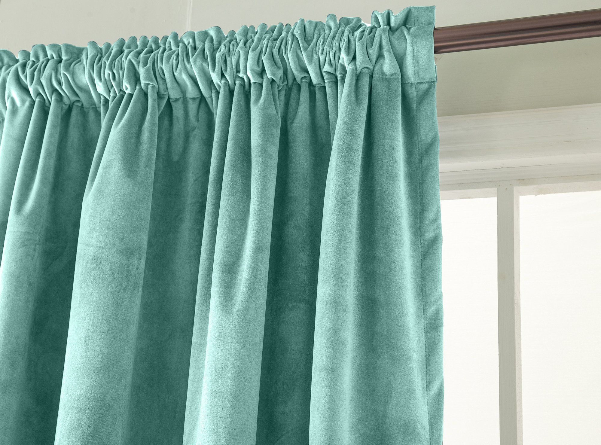 Comforhome Solid Soft Velvet Window Curtain Rod Pocket Drapes Aqua