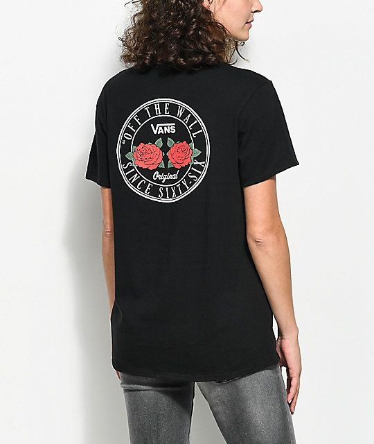 38aa71eb92 Zumiez Vans OTW Red Rose Black Boyfriend T-Shirt