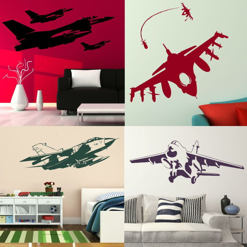 Aeroplane Wall Stickers! Removable Fighter Jet Transfers, Boys Bedroom Army Art #WallStickerExtra