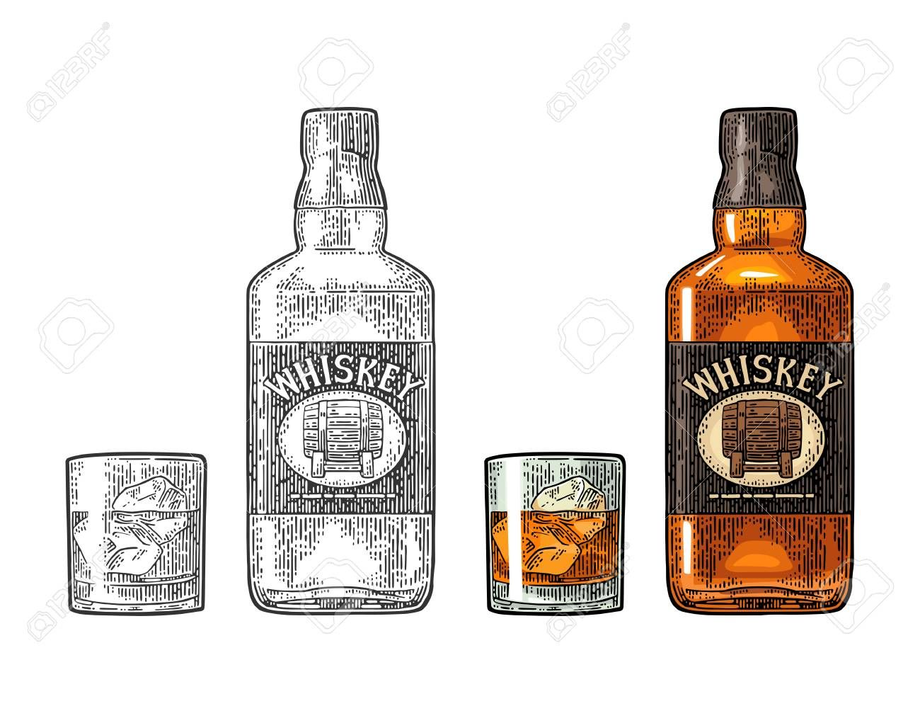 Whiskey glass with ice cubes and bottle label with barrel