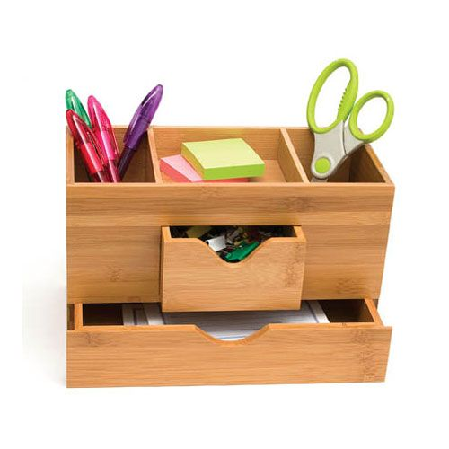 Bamboo Three Tier Desk Organizer 21 99 Holding Writing Utensils Other Office Supplies Bottom Drawer Can Hold Envelopes Or Stationary