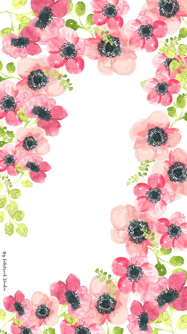 Watercolor Floral Tablet Wallpaper 716x1273 Pixels