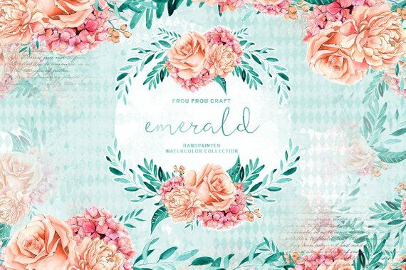 Handpainted Floral Clipart Peach And Mint Wedding Paper
