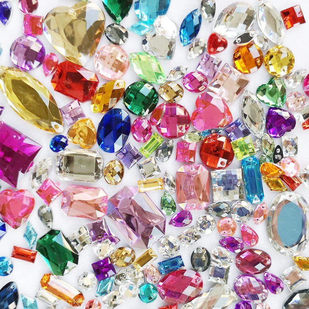 1000 COLOURED ROUND ACRYLIC FACETED CABOCHONS GEMS CRAFT JEWELLERY EMBELISHMENTS