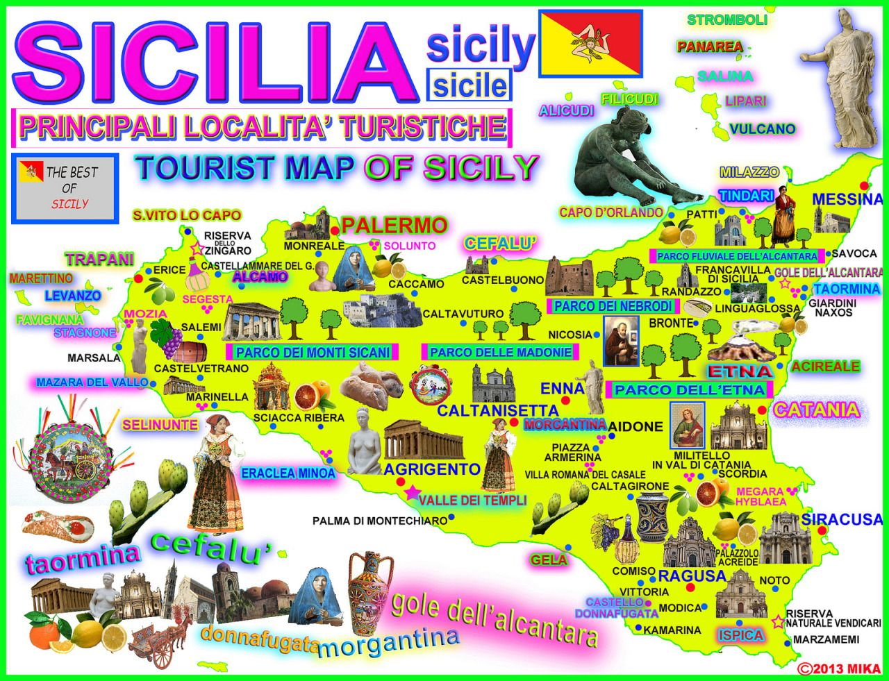 Map of Sicily and its main attractions