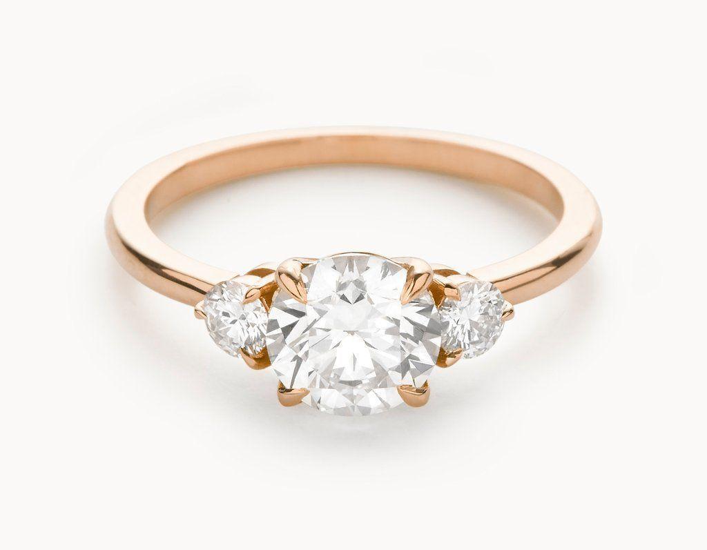 Minimal k rose gold three stone diamond engagement ring my