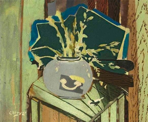 GEORGES BRAQUE La Caisse Verte (The Green Box, 1952), Oil and sand on canvas, Height: 88 cm (34.65 in.), Width: 106.5 cm (41.93 in.), Private collection