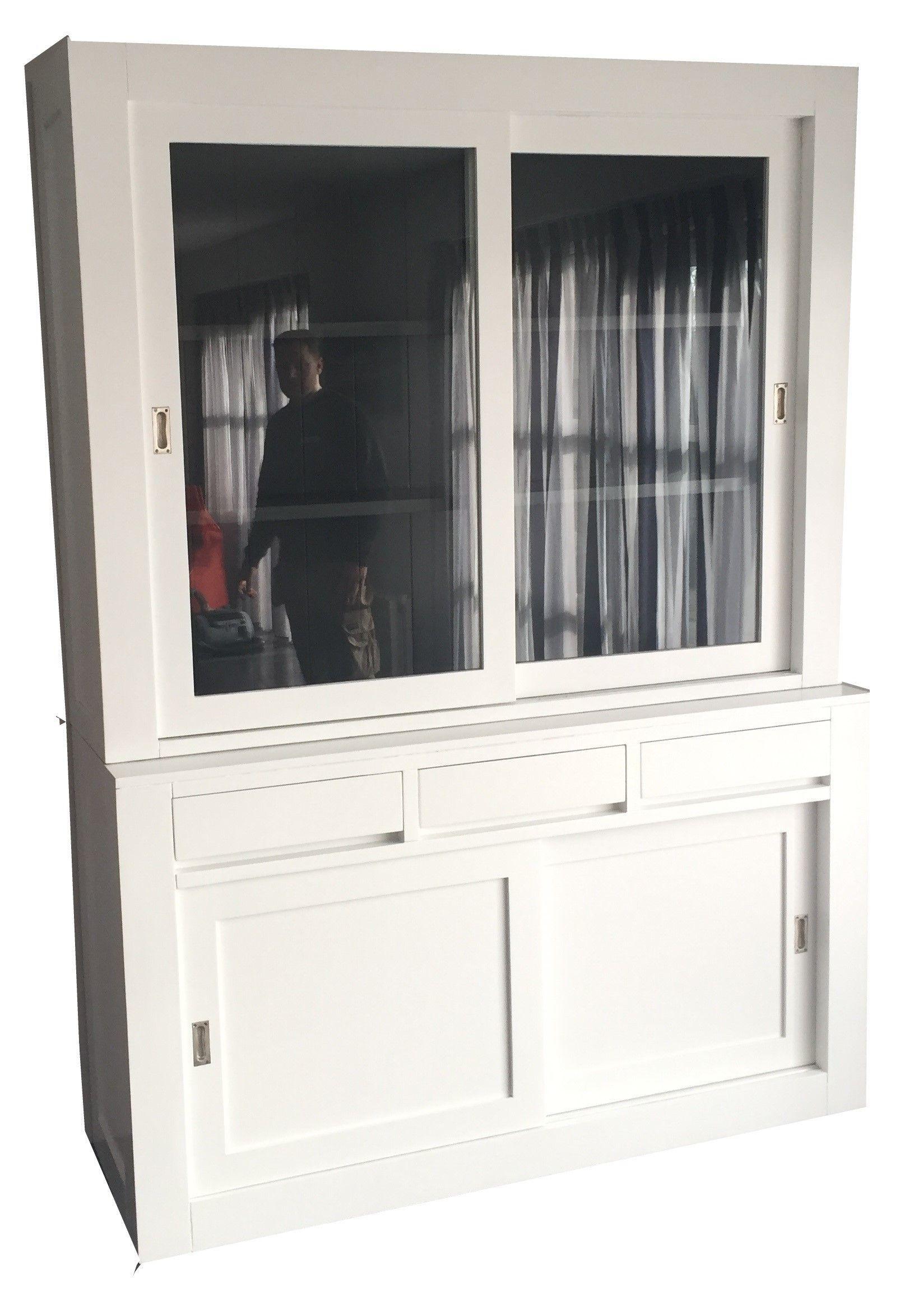 Strakke Moderne Witte Design Kast 160cm Breed Met Grijze
