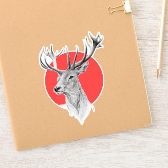 Deer Portrait Pencil Drawing Red Circle Sticker Zazzle Com In 2020 Pencil Drawings Drawings Deer Drawing