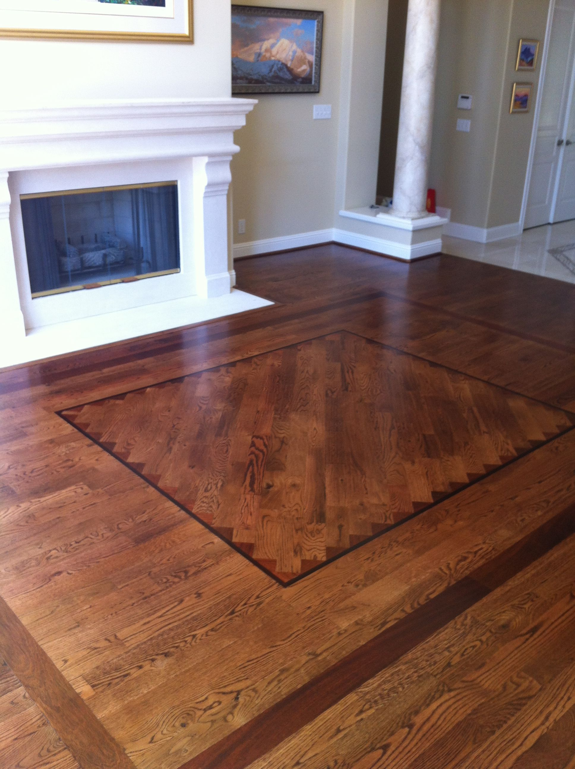 Red Oak Hardwood Flooring With Antique Brown Stain Inlay