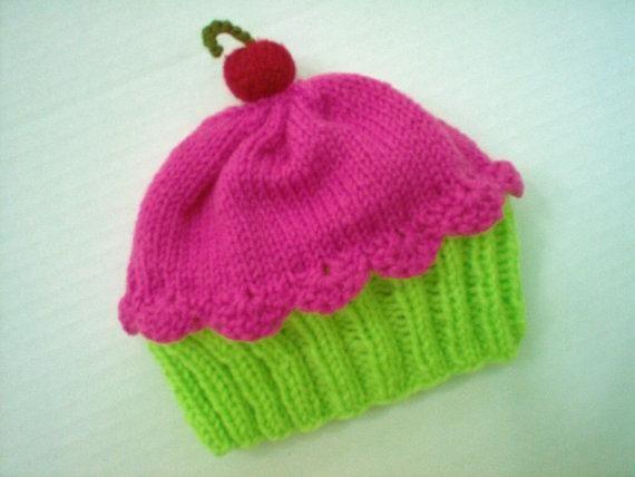 Knitting Pattern Cupcake Beanie : Cupcake Hat - Preemie to Adult sizing Patterns, I love ...