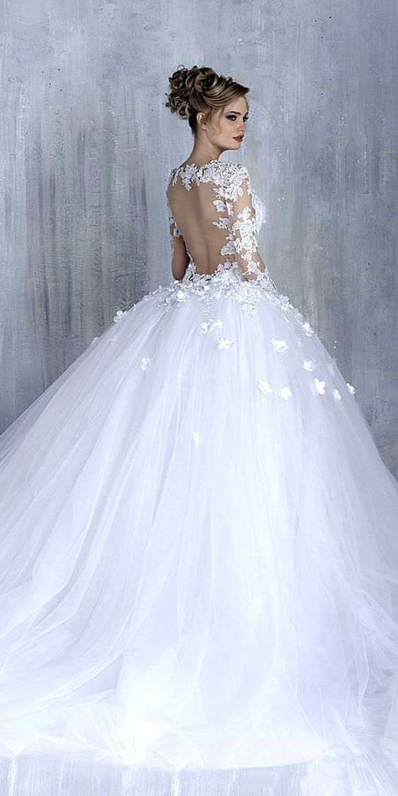 ball gown silhouettes wedding dresses. Backless wedding dress with sheer  lace ... 16af160130ce