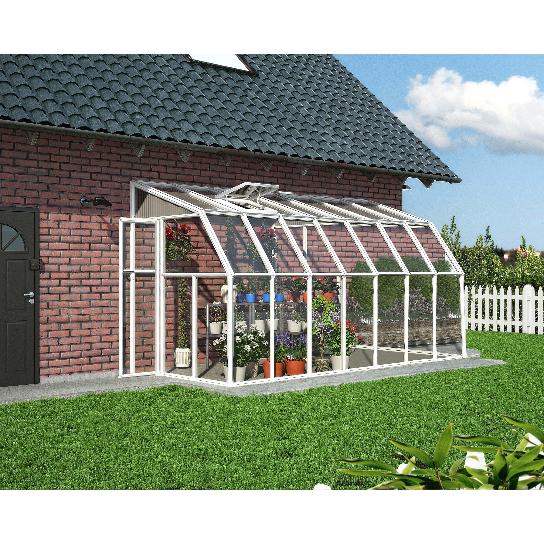 Kiosque Autoportante Palram Sun Room Aluminium Blanche 8 7m Serre Arriere Cour Plans De Serre Maison Verte