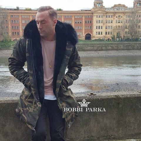 72d75529179 Calum Best Mens Camo Faux Fur Collar Parka Jacket with Black Faux Fur 3 4