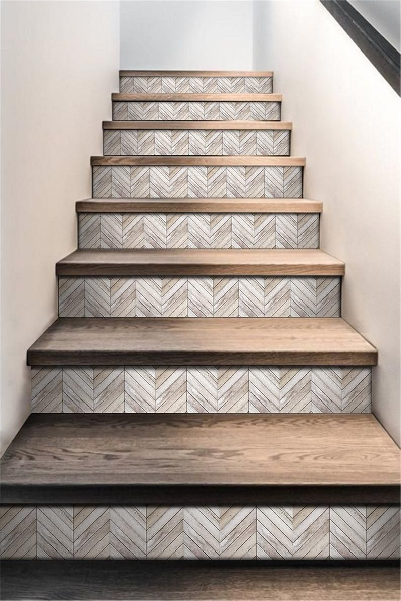 Walraime Stair Riser Decals Peel And Stick Removable Self Adhesive Wood Pattern Stairs Sticker 6pcs Set Stair Renovation Diy Stairs Staircase Makeover