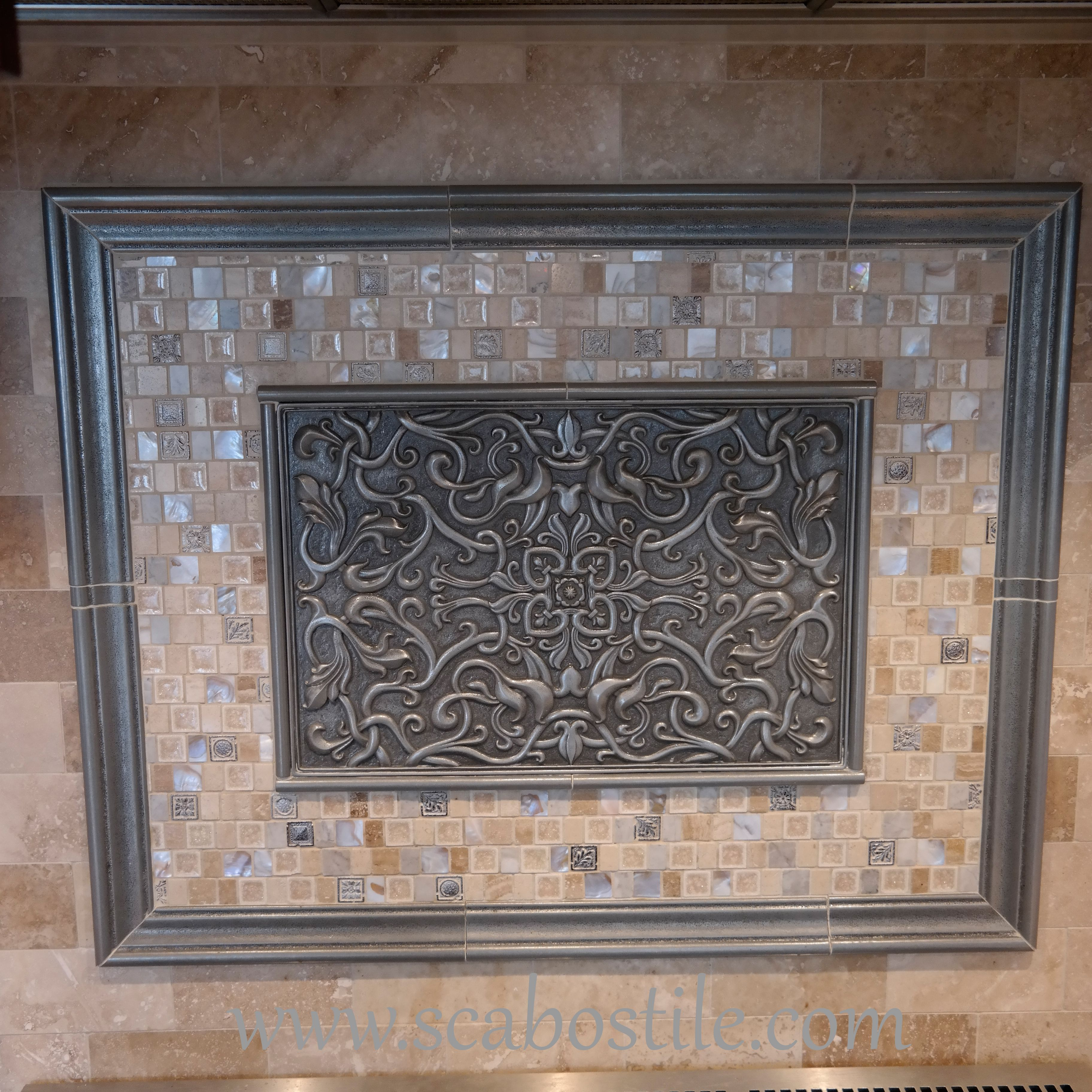 kitchen backsplash metal medallions florence silver 12x18 resin deco accent tile metal resin listellos moldings are true hand 5140