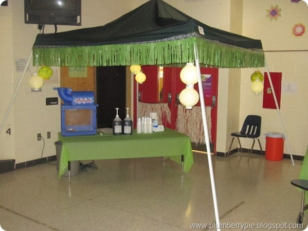 Use Pop Up Canopy To Create A Tiki Hut, Decorate W/fringe And Lanterns