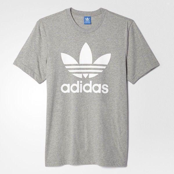 adidas Originals Trefoil Tee - Grey | adidas Australia ($31) ❤ liked on  Polyvore