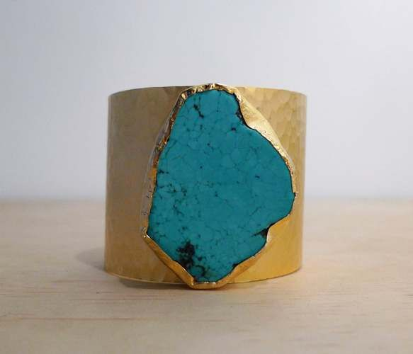 Gold Turquoise Cuff -