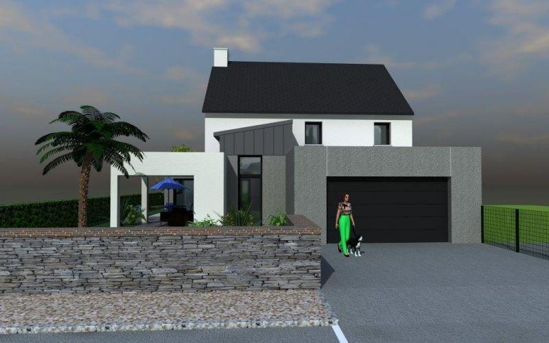Assez maison contemporaine garage et entrée toit plat | Architecture  SG61