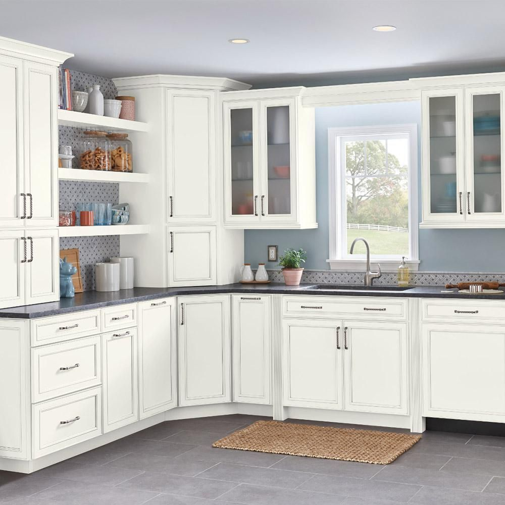 American Woodmark Custom Kitchen Cabinets Shown In Classic Style Hdinstbl The In 2020 Custom Kitchen Cabinets Semi Custom Kitchen Cabinets American Woodmark Cabinets