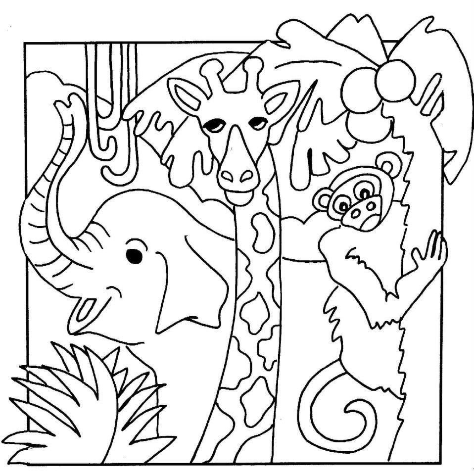 simple jungle animal coloring pages - photo#16