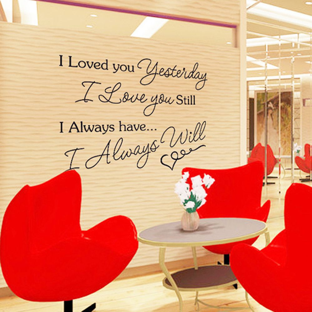 English Letter I Love You Removable Wall Stickers Art Decals Mural ...