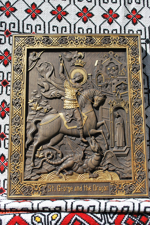 Saint George And The Dragon Wood Carving Religious Wall Art Icon Christian Gift Birthday Person