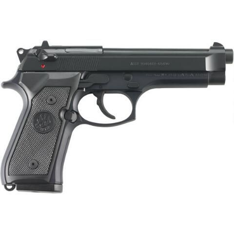"Beretta M9 Semi Auto Handgun 9mm Luger 4.9"" Barrel 15 Rounds Synthetic Grips Military Style Markings Black Finish J92M9A0M - J92M9AOM - 082442816371"