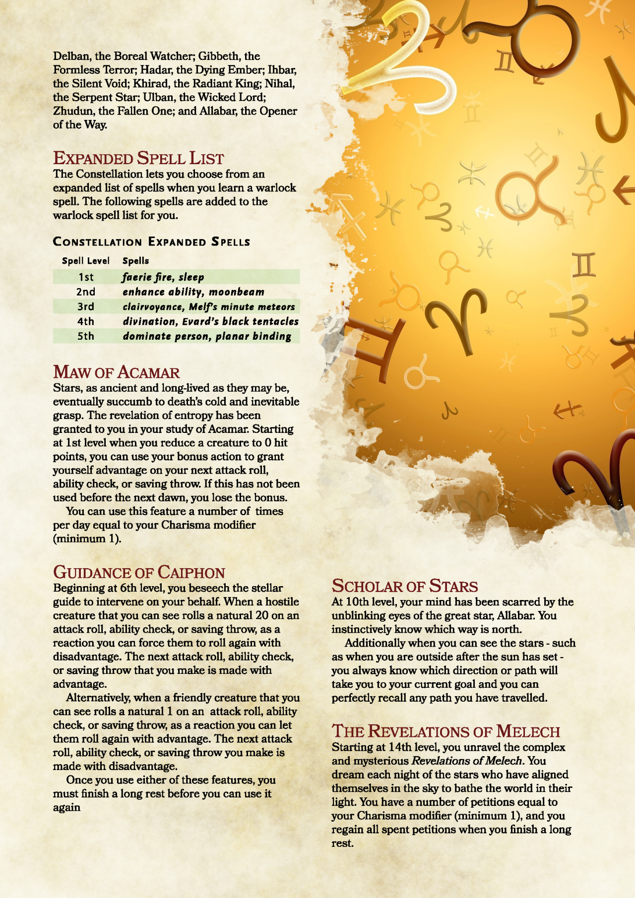 DnD 5e Homebrew — Constellation Patron Warlock by