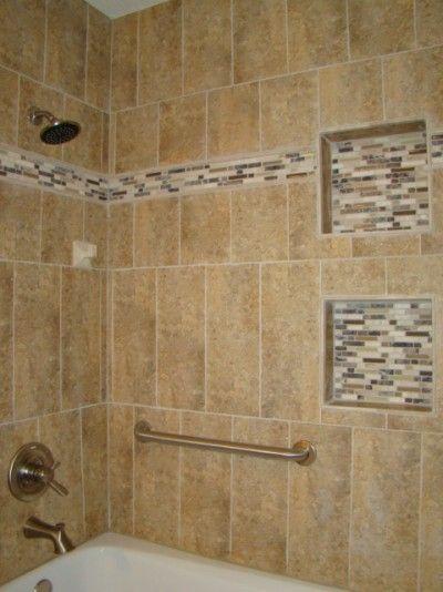 i like the border and the same tile inside the shelves. Black Bedroom Furniture Sets. Home Design Ideas